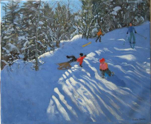 Falling off the Sledge, Morzine (oil on canvas)