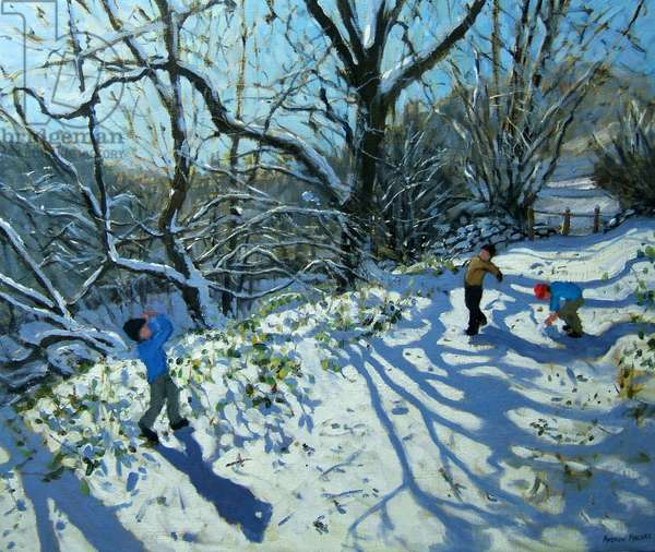 Snowball fight, Derbyshire (oil on canvas)