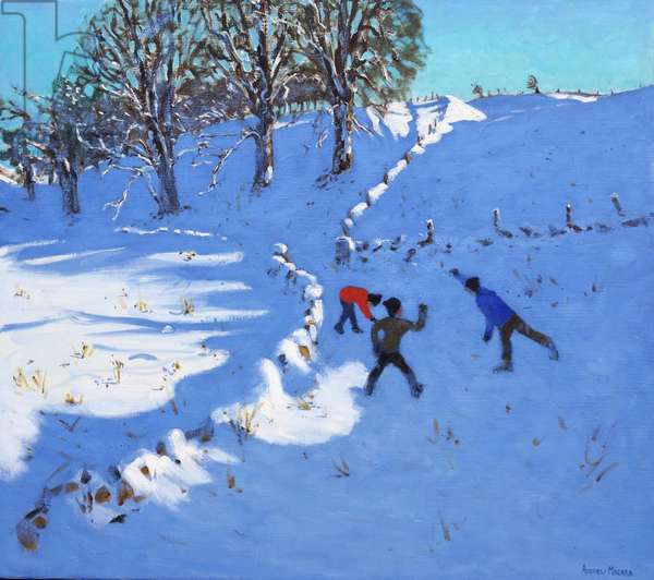 Playing in the snow Youlgrave,Derbyshire,2016,(oil on canvas )