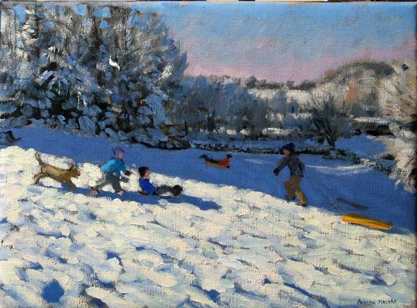 Sledging near Youlgreave, Derbyshire (oil on canvas)