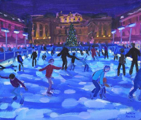 Evening skaters,Somerset House ,2015,(oil on canvas)