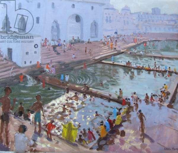 Pushkar ghats, Rajasthan (oil on canvas)