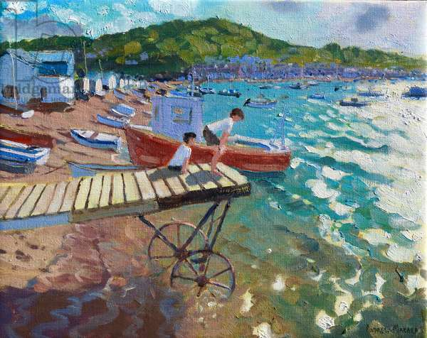 Two boys on the landing stage,Teignmouth,2015/16,(oil on canvas)