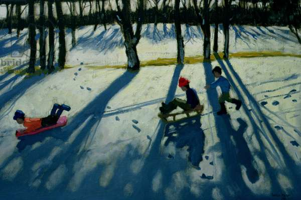 Boys Sledging, Allestree Park, Derby (oil on canvas)