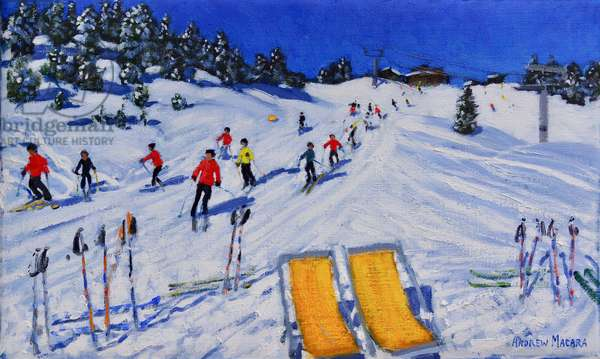 Two deckchairs, Val Gardena,Italy,2108 ( oil on canvas )