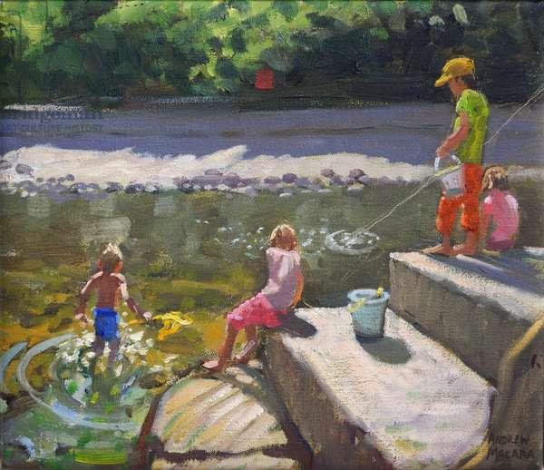 Kids fishing,Looe,Cornwall,2014,(oil on canvas)