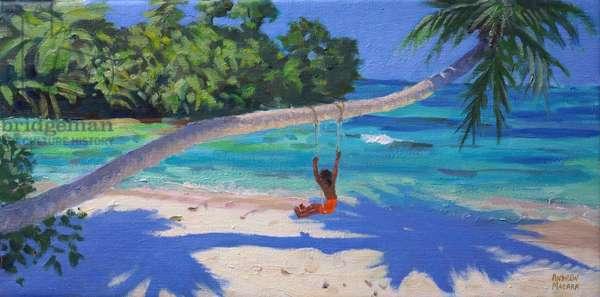 Girl on a swing,Seychelles,2015,(oil on canvas)