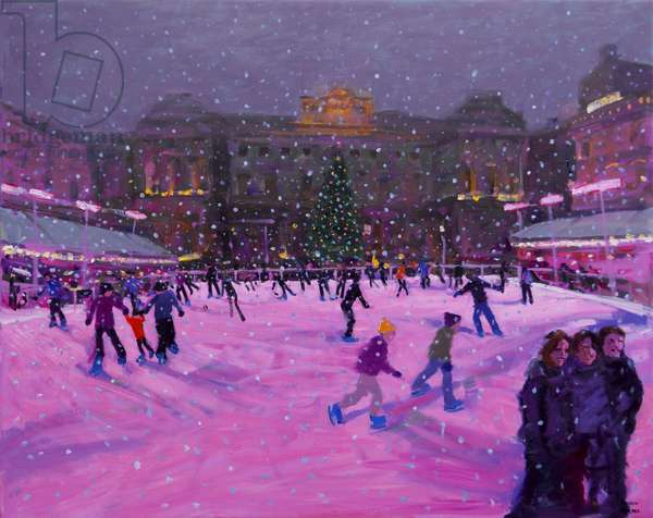Christmas skating,Somerset House with pink lights.2014 (oil on canvas)