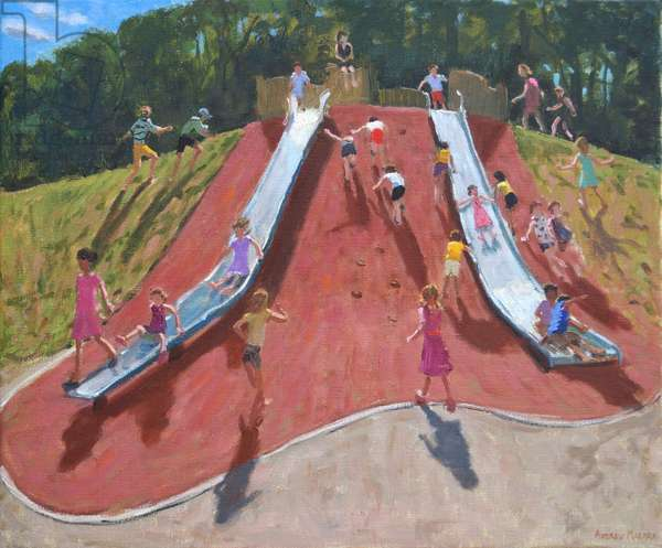 Playground,Marketon Park,Derby,(oil on canvas)