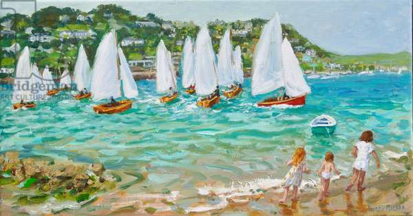 Chasing the boats,Salcombe , 2018, (oil on canvas)