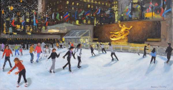 Evening,Rockerfeller Ice Rink,New York, (oil on canvas)