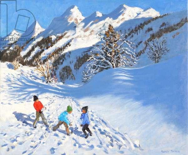 Snowballing,La Clusaz,France (oil on canvas)