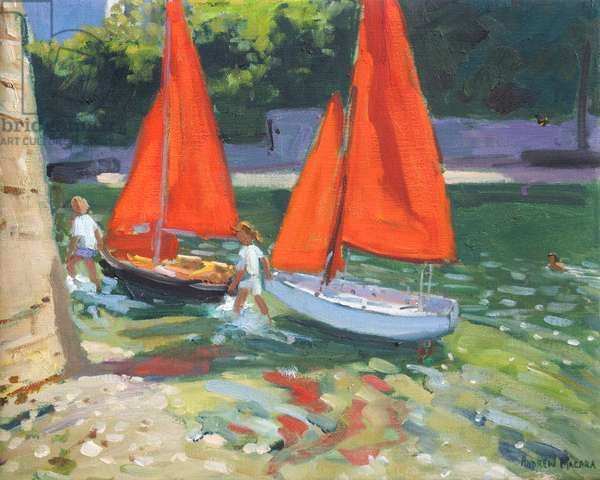 Girls with sail boats Looe , 2014,(oil on canvas)