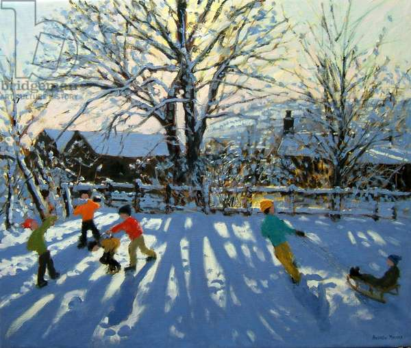 Fun in the snow, Tideswell, Derbyshire (oil on canvas)
