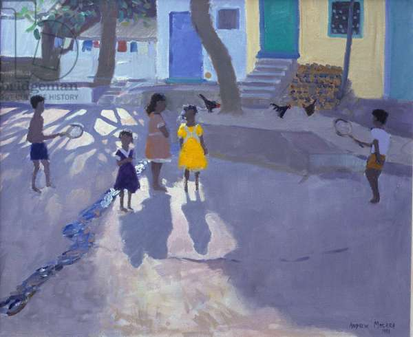 The yellow dress,Udaipur,India ,1990 (oil on canvas)
