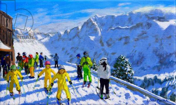 Young skiers in yellow,Val Gardena Italy.12x20
