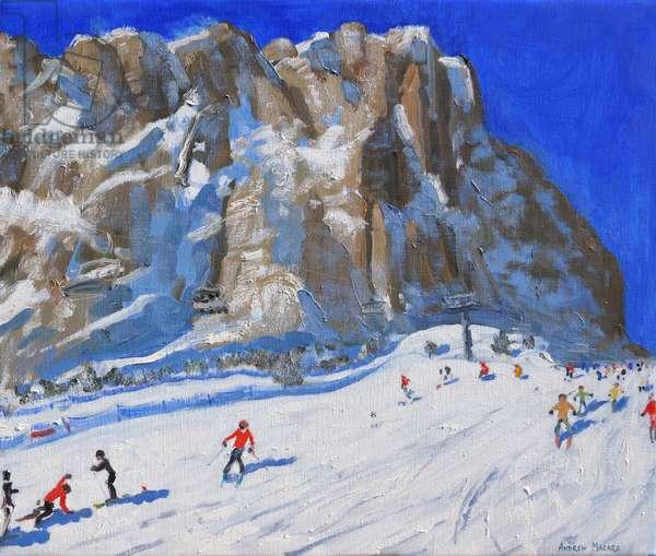 Skiing down the mountain,Selva Gardena, (oil on canvas )