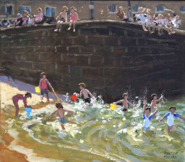 Splashing in Tenby Harbour ,2016,(oil on canvas)