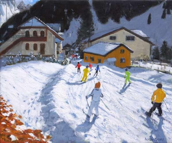 Skiing into Val Gardena,Italy.2015/17,(oil on canvas)