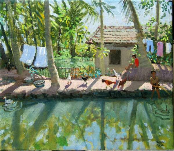 Backwaters, India (oil on canvas)