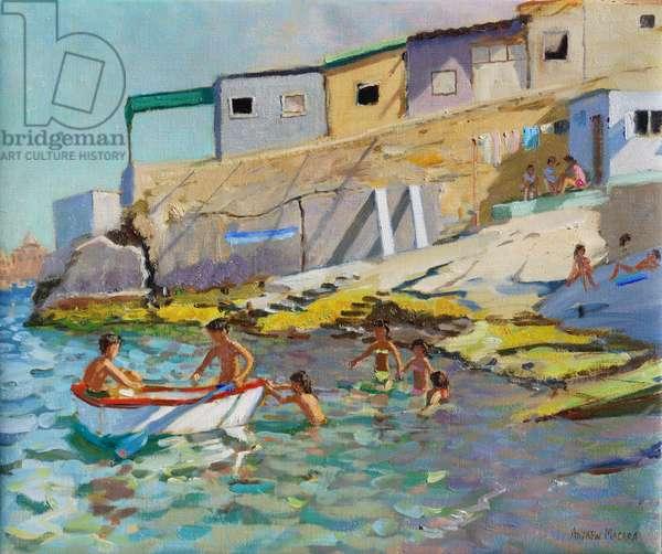 The rowing boat,Valetta,Malta,2015,(Oil on canvas)
