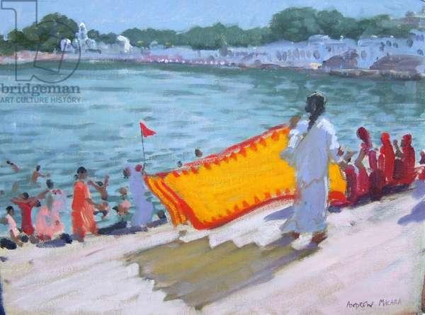 Drying Sari, Pushkar (oil on canvas)