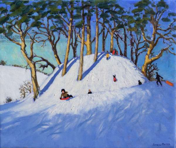 Christmas sledging (oil on canvas)