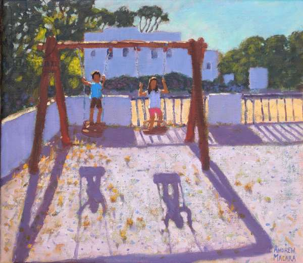 Summer swing,Folegandros,Greek Islands,August 2017,(oil on canvas)
