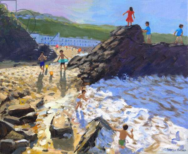 Climbing on the rocks,St Ives,(oil on canvas)