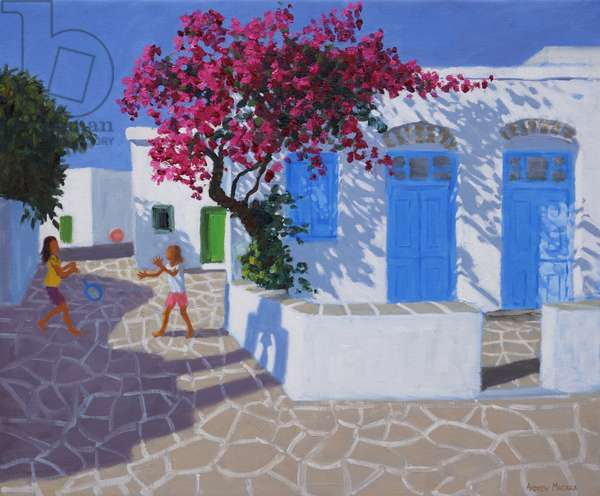 Blue doors,Folygandros,Greek Islands,2017,(oil on canvas)