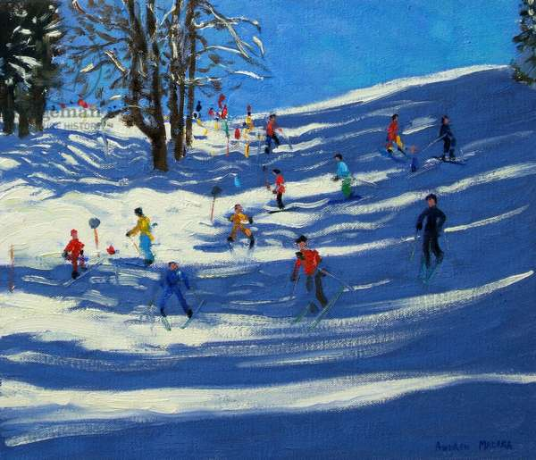 Blue shadows, Morzine (oil on canvas)