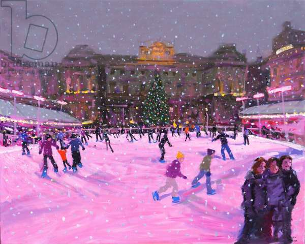 Christmas skating,Somerset House with pink lights,2014 (oil on canvas)(updated image)