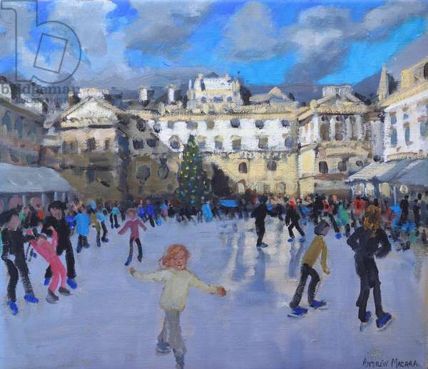Christmas skating,Somerset House,daytime ,(oil on canvas)