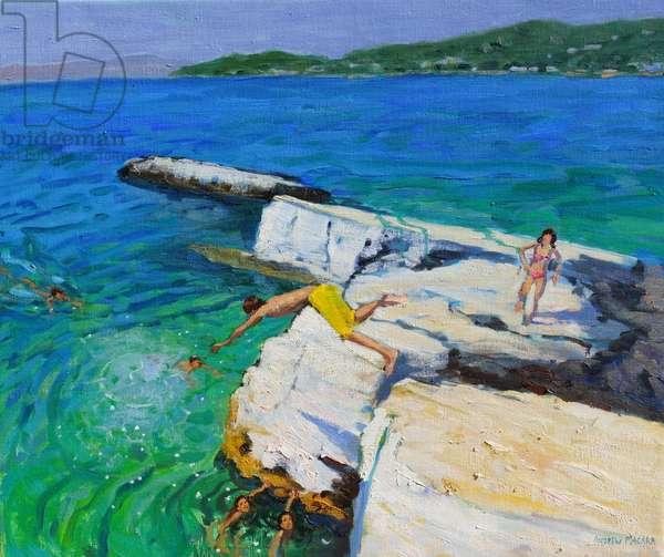 The Diver,Plates Rock,Skiathos,Greece,2015,(oil on canvas)