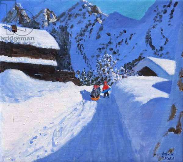 Three tobogganers,La Clusaz,France,2017, (oil on canvas)
