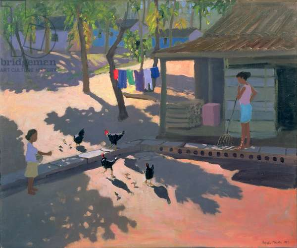 Hens and Chickens, Cuba, 1997 (oil on canvas)