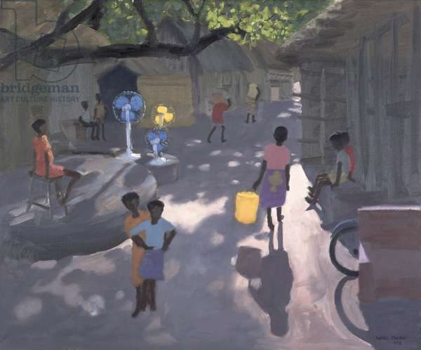Fan Seller, Malindi, Kenya, 1995 (oil on canvas)