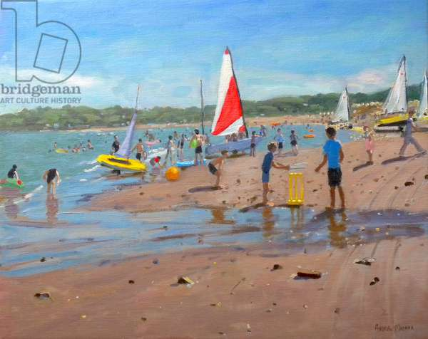 Cricket and red and white sail,Abersoch, 2011, (oil on canvas)