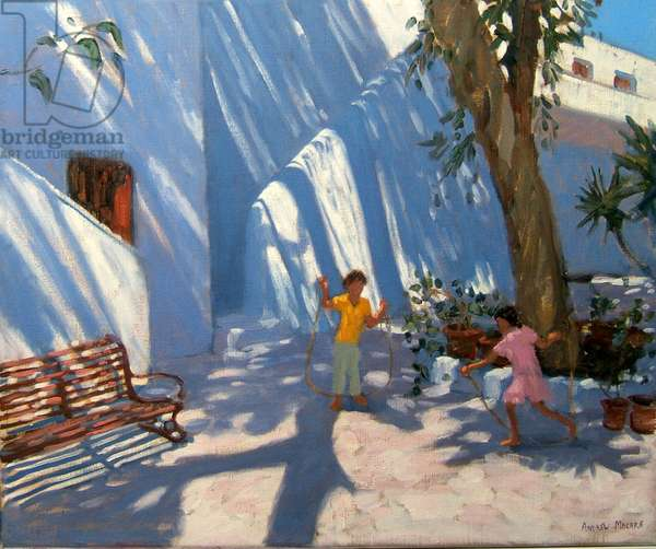 Two girls skipping, Mykonos (oil on canvas)