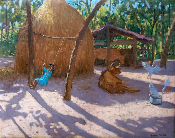 HAYSTACK,AND GIRL ON A SWING,KERALA ,2005,(oil on canvas)