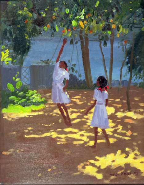 Reaching for Oranges, Bentota, Sri Lanka, 1998 (oil on canvas)