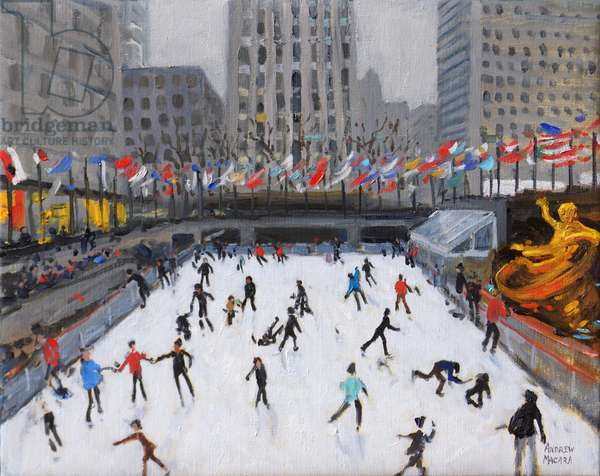 Christmas skating,Rockerfeller Ice Rink,New York,(2017,(oil on canvas)