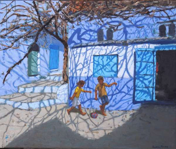 Ball games in the street,Chefchaouen,Morocco , 2018,(oil on canvas)