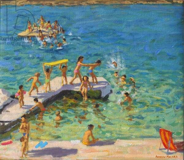Fun in the sea, Rovinj, Croatia, 2019 (oil on canvas)
