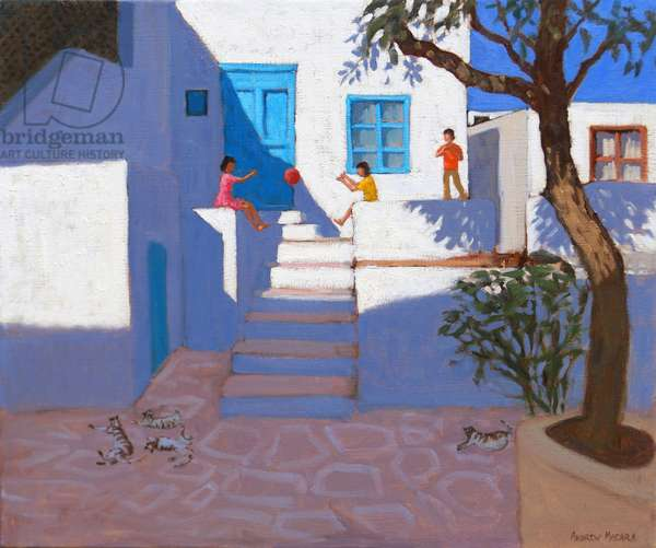 Children and cats,Mykonos,2017,(oil on canvas)