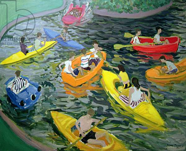 Canoes, Wickstead Park (oil on canvas)