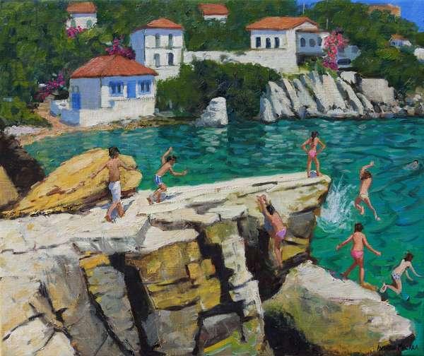 Jumping into the sea,Plates ,Skiathos,2015,(oil on canvas)