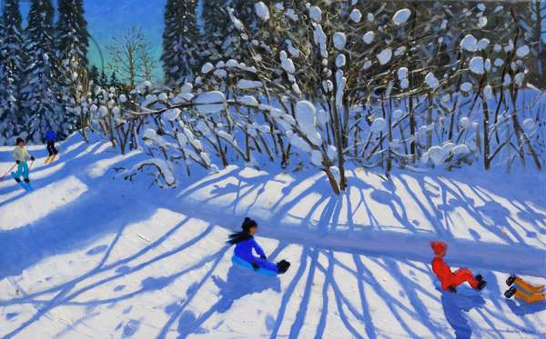 Sledging and skiing down the trail,Morzine, (oil on canvas)