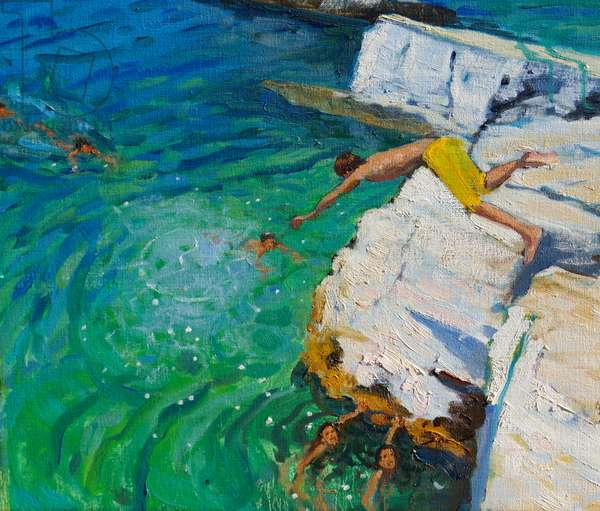 Detail of The Diver,Plates Rock,,Skiathos, Greece.2015,(oil on canvas)