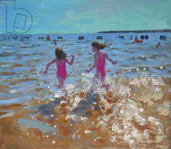 Splashing in the sea,Clacton. 2014,(oil on canvas)